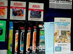 Atari 2600 Sears Video Arcade Console/Game Lot Heavy Sixer Tele-Games Gemstik +
